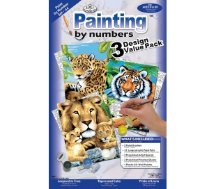 צביעה במספרים ערכה עם 3 פרוייקטים - חתולי ג'ונגל
