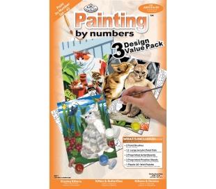 צביעה במספרים ערכה עם 3 פרוייקטים - חתולים