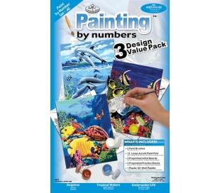 ערכת מתנה ציור במספרים 3 פרוייקטים - חיים בים
