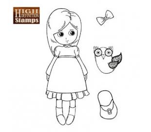 חותמת גומי HD ילדה עם ינשוף 7*11 סמ