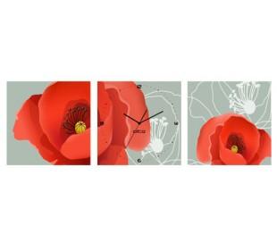 שעון קיר בתמונת 3 חלקים של כלניות