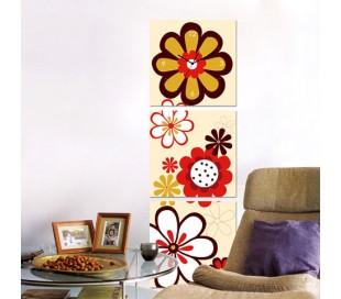 שעון קיר בתמונת 3 חלקים של פרחים גרפים