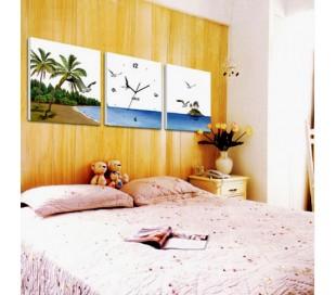 שעון קיר בתמונת 3 חלקים של נוף טרופי