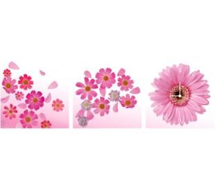 שעון קיר בתמונת 3 חלקים של חרצניות ורודות