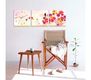 שעון קיר בתמונת 3 חלקים של צפורים ופריחה