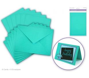 סט של 6 כרטיסי ברכה ומעטפות חלקות - כחול טיפאני