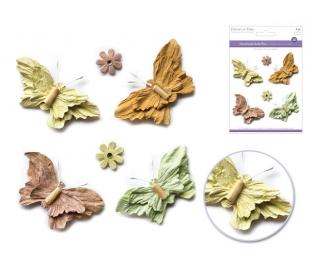 פרפרים ופרחים מנייר עם חרוז בתלת מימד - וינטאג'