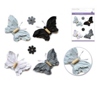 פרפרים ופרחים מנייר עם חרוז בתלת מימד - קלסיק