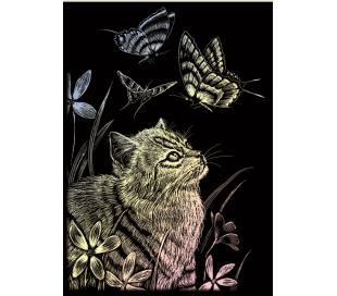 ערכת חריטה קטנה - פרפר וחתלתול צבעוני