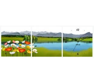 שעון 3 חלקים הדפס עץ - אי בים
