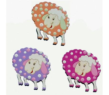 חיתוכי לייזר צבעוניים - 3 כבשים