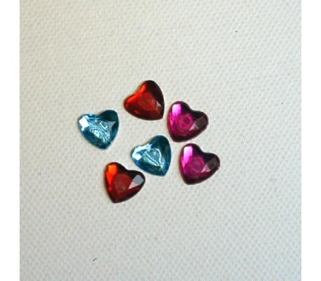 אבני שיבוץ לבבות צבעוני בינוני 50 יח