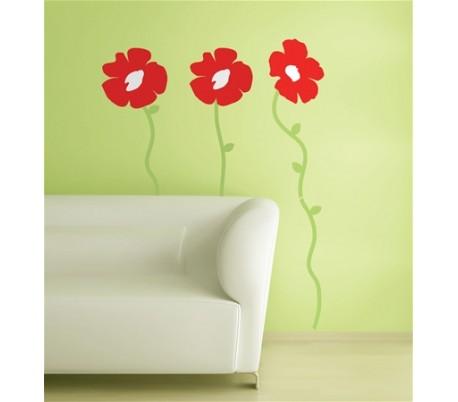 מדבקות קיר כלניות אדומות