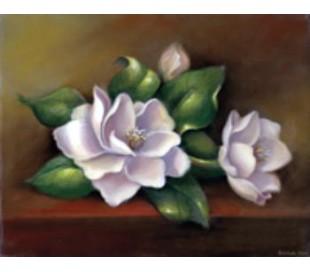 ערכת צביעה גדולה על קנבס -פרחים בלבן