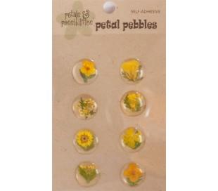 מדבקות פרחים קטנים באפוקסי - 8 בצהוב