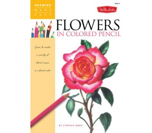 ספר ללימוד ציור בעפרונות צבעוניים - פרחים