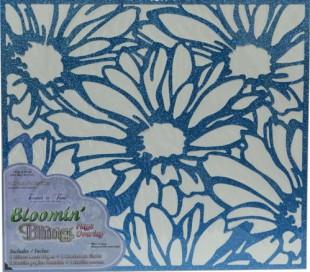 מ1. דף עיצוב בעיטור נצנצים עם חיתוך לייזר פרחוני כחול