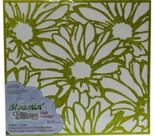 מ1. דף עיצוב בעיטור נצנצים עם חיתוך לייזר פרחוני ירוק