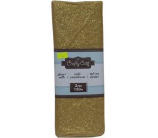 בד זהב טול עם נצנצים 135*180 סמ