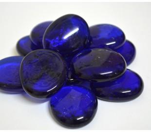 אבני זכוכית - נגצים גדולים כחול כהה שקוף 200 גרם