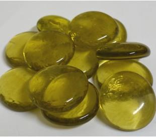 אבני זכוכית נגצים גדולים צהוב בהיר שקוף 200 גרם