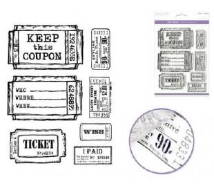 סט חותמות סיליקון גדול - וינטאג' כרטיסים