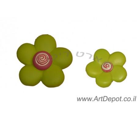 ידיות  מעוצבות לארונות ילדים    פרח ירוק