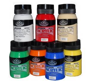 """צבעי אקריליק רוייאל באריזת 500 מ""""ל"""