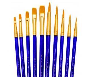 סט 10 מכחולים עגולים ושטוחים של רוייאל ברש