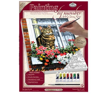 ערכת ציור לפי מספרים - חתול בחלון