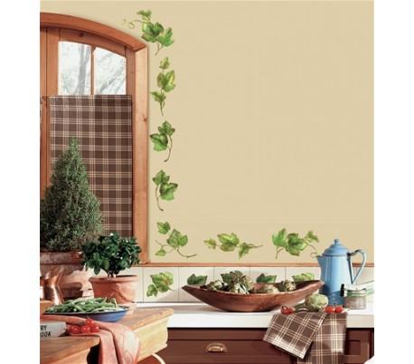 מדבקות לקיר עיטורי עלים ירוקים