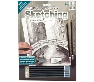 ערכת רישום בעפרונות פחם - גשר בוונציה