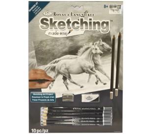 ערכת רישום בעפרונות פחם - סוסי פרא