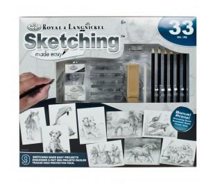 ערכת רישום וציור בעפרונות ופחמים עם 9 פרוייקטים