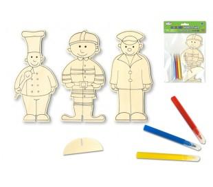עובדי קהילה - ערכת יצירה דמות עץ עם 3 טושים