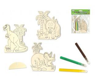 דינוזאורים - ערכת יצירה דמות עץ עם 3 טושים