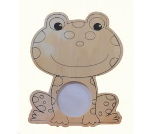 מסגרת עץ בדמות צפרדע