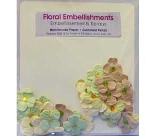 פרחי נייר בעבודת יד - ירוק וקרם