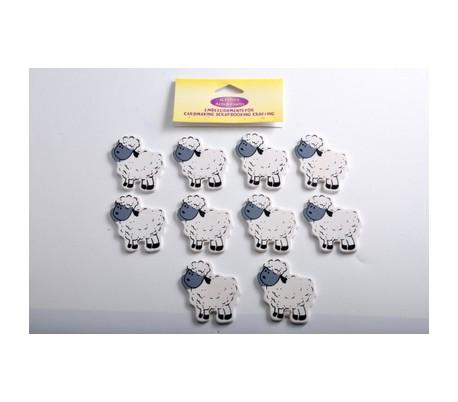 חיתוכי עץ כבשים לבנות 10 יח