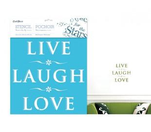 שבלונה 30*30 משפטי השראה - לחיות, לצחוק ולאהוב