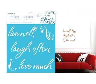 שבלונה 30*30 משפטי השראה - לחיות טוב, לצחוק ,לאהוב