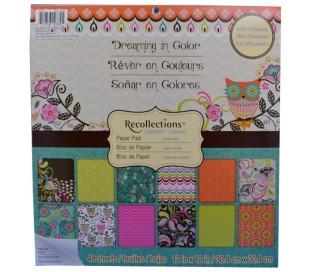 חבילת 48 ניירות עיצוב 30X30 עבים עם נצנצים - ינשופים חולמים בצבע