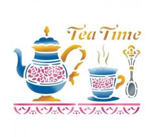"""שבלונות לציור- זמן תה 15 * 20 ס""""מ"""