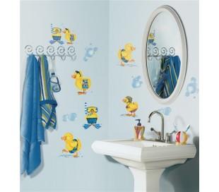 מדבקות לקיר ברווזים באמבטיה