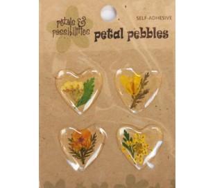 מדבקות סידורי פרח אמיתי בציפוי PVC בצורת לב - צהוב