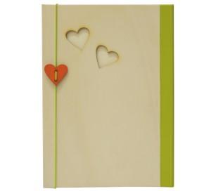 אלבום תמונות A4 כריכת עץ לבבות