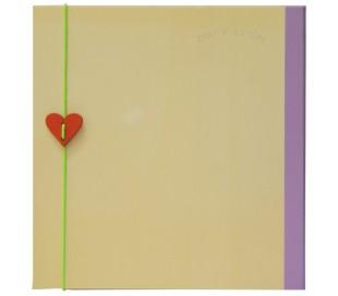 אלבום תמונות 30*30 כריכת עץ עם לב