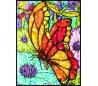 ערכת ציור במספרים עם צבעי זכוכית - פרפר