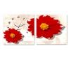 שעון קיר בתמונת 2 חלקים של פרח באדום