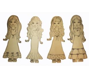 סט 4 בובות ילדה לצביעה